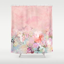 Romantic flowers shower curtains society6 modern blush watercolor ombre floral watercolor pattern shower curtain mightylinksfo
