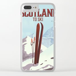Scotland To Ski vintage travel poster Clear iPhone Case