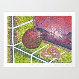 In the Kitchen: Fruit Sitting on the Windowsill  Art Print