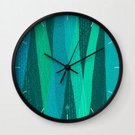 Precipitation (Blue Green Textured Abstract) Wall Clock