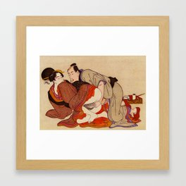 Geisha Shunga Japan erotic Art Vintage Sex Couple Love Framed Art Print