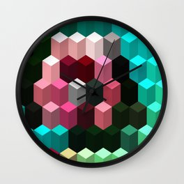 Turquoise Pink Mint and Black 3D Stacked Cubes Wall Clock