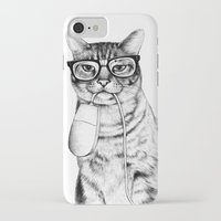 school iPhone & iPod Cases featuring Mac Cat by florever