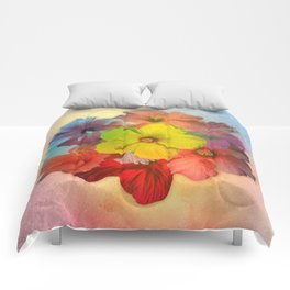 Colorful Hibiscus Bouquet Comforters