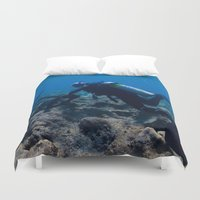 scuba Duvet Covers featuring Scuba Diving Excavation by BravuraMedia