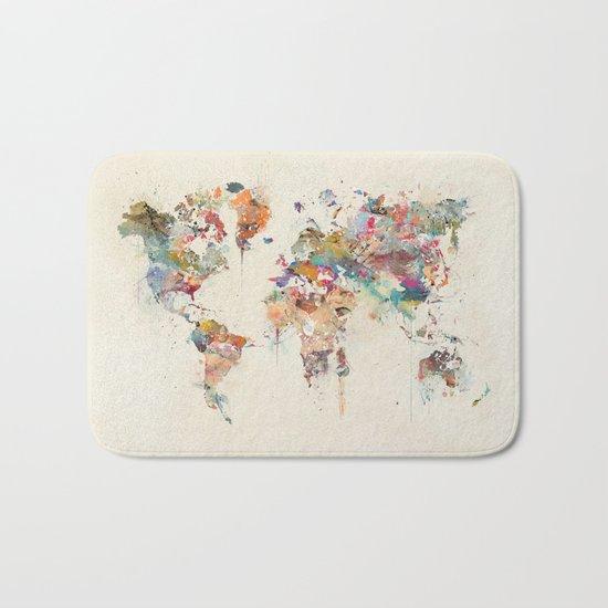 world map watercolour Bath Mat