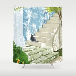 Being a person is getting too complicated. It's time to be a cat. #painting #pets Shower Curtain