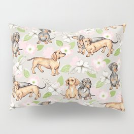 Dachshunds and dogwood blossoms Pillow Sham