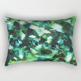 Yellow, Blue and Green Abstract Painting Rectangular Pillow