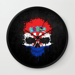 Flag of Croatia on a Chaotic Splatter Skull Wall Clock