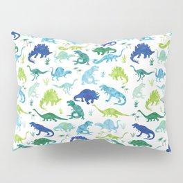 Watercolor Dinosaur Pattern White Green Blue Pillow Sham