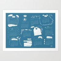 calendar 2015 Art Prints featuring Calendar 2015 by Ananá