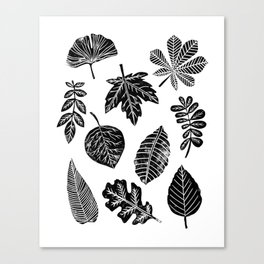 Linocut leaves fall autumn lino printmaking black and white decor art print trendy leaf pattern Canvas Print