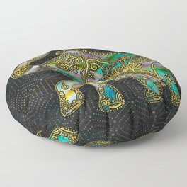 Gold Framed Elephant on Colorful Abalone decor Floor Pillow