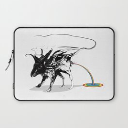 Rat and rainbow. Black on white background-(Red eyes series) Laptop Sleeve