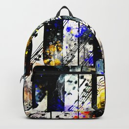 piano keys and music sheet pattern wsstd Backpack