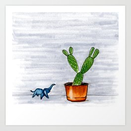 The Cactus & The Happy Elephant Art Print
