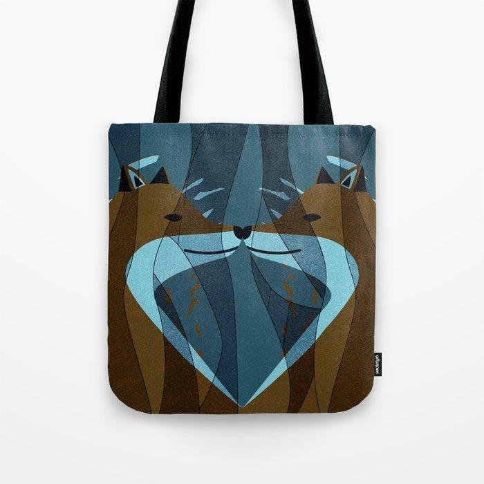 Gorgeous Foxes Kiss Design Tote Bag