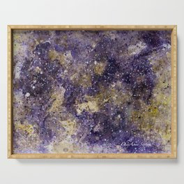 Writings in the Sky the Night Galaxy watercolor by CheyAnne Sexton Serving Tray