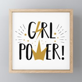 Girl Power - funny feminism humor typography Framed Mini Art Print