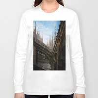 spires Long Sleeve T-shirts featuring Duomo di Milano spires by Marc Daly