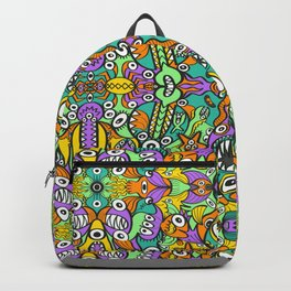 Tropical aquatic creatures in doodle art style forming a colorful pattern design Backpack