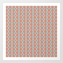 Coral Diamond Stripe Pattern Art Print