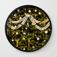 christmas tree Wall Clocks featuring Christmas Tree by Pati Designs