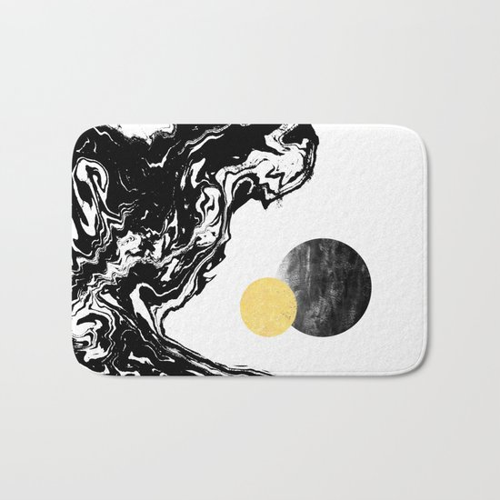Eugenia - abstract mixed media black white gold foil sunrise sunset painting earth galaxy space sea Bath Mat