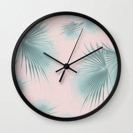 Fan Palm Leaves Paradise #6 #tropical #decor #art #society6 Wall Clock
