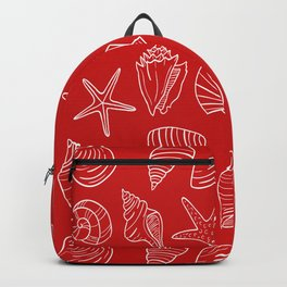 Red and white seashells pattern Backpack