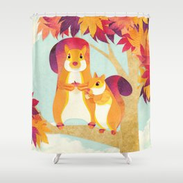 Shanti Sparrow: Jimmy and Kit the Squirrels Shower Curtain