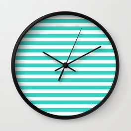 STRIPES DESIGN (TURQUOISE-WHITE) Wall Clock