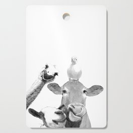 Black and White Farm Animal Friends Cutting Board