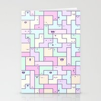 tetris Stationery Cards featuring Kawaii Tetris by KiraKiraDoodles
