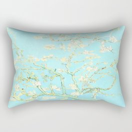 Vincent Van Gogh : almond blossoms Aqua Blue Rectangular Pillow