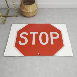 Red Traffic Stop Sign Rug