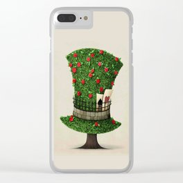 Fantasy green hat in the shape of tree with flowers Clear iPhone Case