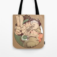 yaoi Tote Bags featuring Hello Coffee by kami dog