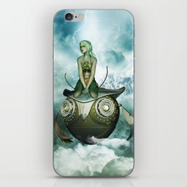 Steampunk women fly with a mechanical owl iPhone Skin