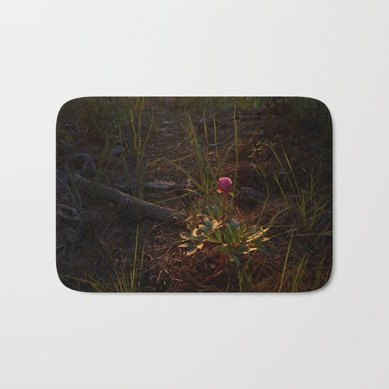 """Flower Into The Woods"" Happy Peony looking for the last sun.. Bath Mat"