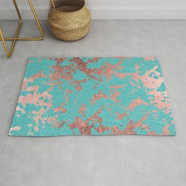 Modern turquoise glitter faux rose gold marble Rug