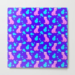 Little bears. Cute adorable funny pink baby bear cubs, bold blue retro dots midnight blue pattern Metal Print