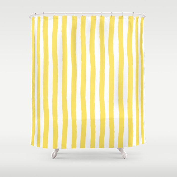Yellow And White Cabana Stripes Palm Beach Preppy Shower Curtain By