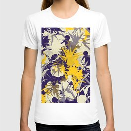 tropical silhouette with orchids and palms with yellow T-shirt
