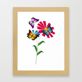 Colorful butterflies and flowers Framed Art Print