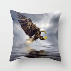 Bald Eagle swooping Throw Pillow