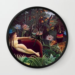 The Dream by Henri Rousseau 1910 // Jungle Lion Flowers Native Female Laying Colorful Landscape Wall Clock