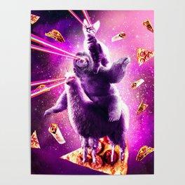 Laser Eyes Space Cat Riding Sloth, Llama - Rainbow Poster