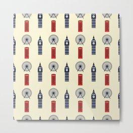 London Big Ben,Red British phone box Metal Print